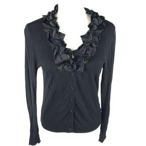 Worthington Ruffle Neckline Cardigan Sweater Black